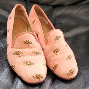 Coach Leather Lobster Embroidered Flats